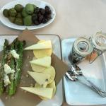 Antipasti: Olive tree, Grilled asparagus, & Pecorino cheese assortment