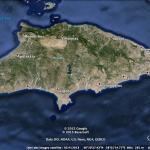 vue satellite de l'île de Rhodes