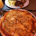 Chicken pizza and grill platter
