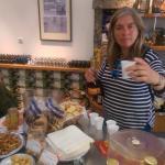 The lovely Filomena sampling local liqueurs