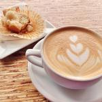 12 oz. vanilla espresso with lemon poppy muffin