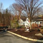 A massive treble clef and garden area outside the Kitchen