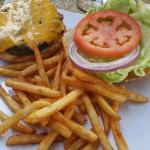 Cheese burger and nachos