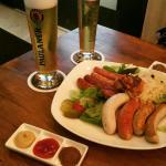 Sausage Platter,  Lager Beer and Dessert Platter