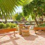 Enjoy the shade and calming sounds of the water feature in our courtyard