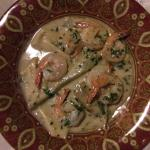 Shrimps with blue cheese sauce. Great starter