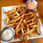Hand cut fries with dipping sauce