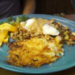 Southwestern vegetable hash with Chipolte cream sauce