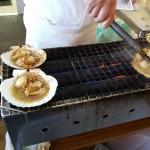 Street food vendor (500 yen for scallops)