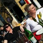 Enjoying Swedish/Serbian wine Dolina-Bacina in the sun. ...april 2015