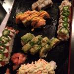 TNT(bottom),lobster roll (topped with avo),Crazy roll (topped with orange spicy sauce), spicy tu