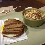 Quinoa oatmeal, ham/cheese egg white sandwich