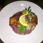 Salmon over risotto.