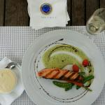 Grilled salmon with potato puree and seasonal vegetables