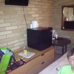 Microwave, fridge, coffee, lots chairs