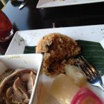 El Plato Tipico - Roast pork, rice w Pigeon peas & cassava, Wonderful!