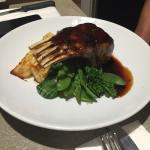Rack of lamb with potato stack/broccolini & jus - lovely & pink