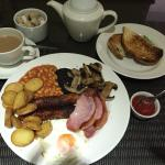 great!the great British breakfast! Tasty bacon, mushrooms and tomato, black pudding is not bad,