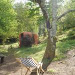 Blick in den eigenen Garten mit Blick auf's Badehaus