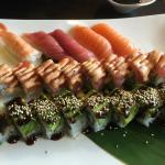 Dragon roll at the front, crunchy roll then nigiri selection.