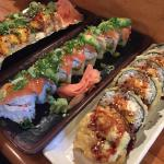Calamari Roll, big mushroom roll, and baked philly roll. Delicious!!!
