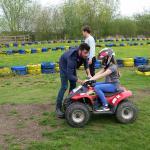 Having a talk on the logistics of riding a quad