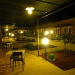 the courtyard of the hotel at night