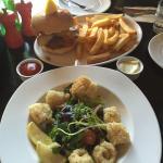 Calamari Salad & Burger with Fries