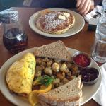 Omelette with hash browns, toast and their amazing jam