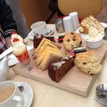 Afternoon tea for two ( not including the plated cake at the back of the board!)