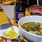 French onion soup with Belgian fries.
