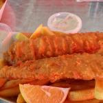 Fish, chips, lemon & tartare sauce. $10