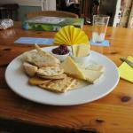 Cheese selection with red oinon chutney
