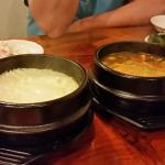 The rice and tofu soup was good
