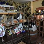 LOVE the decor............cool gift shoppe, handpainted hats/wine/cheese/fresh bread