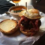 Pastrami burger with organic tomato soup!