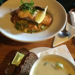 Potato and leek soup and salmon with vegetable curry with sweet potato