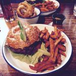 """""""Bambi"""" burger (venison) with sweet potato fries. Just one of a huge selection of great burgers"""