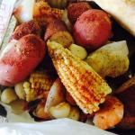 Shrimp, potatoes, sausage, corn and out of this world seasonings made the best low country boil