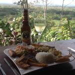 great restaurant with view of volcano