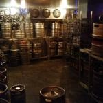 Barrels of Beer in their draft beer room
