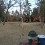 View of volleyball net and playground.