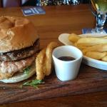 mix grill burger, beef burger gammon burger and breaded chicken,