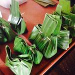 dumplings in banana leaves