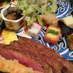 Delicious food, sashimi, tempura, and Kobe beef