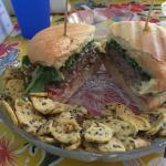 Magnolia burger with flax seed chips