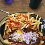 Footlong hotdog with buffalo chili cheese and onion, pretty good. Place closes at 1 pm though.
