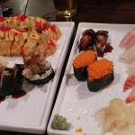 Great sushi and tempura fried cheesecake for dessert