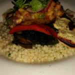 Layered Char Grilled Vegetable (V) with Israeli cous cous, grilled haloumi & spicy pineapple sal