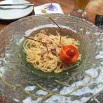 Rico spaghetti con salsa carbonara
